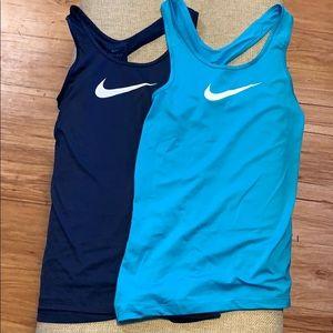 2 Nike Dri-Fit Workout Tank Tops blue